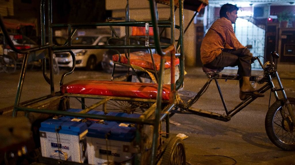 Battery-packs in a pedal-electric rickshaws have become a common sight in north Delhi.