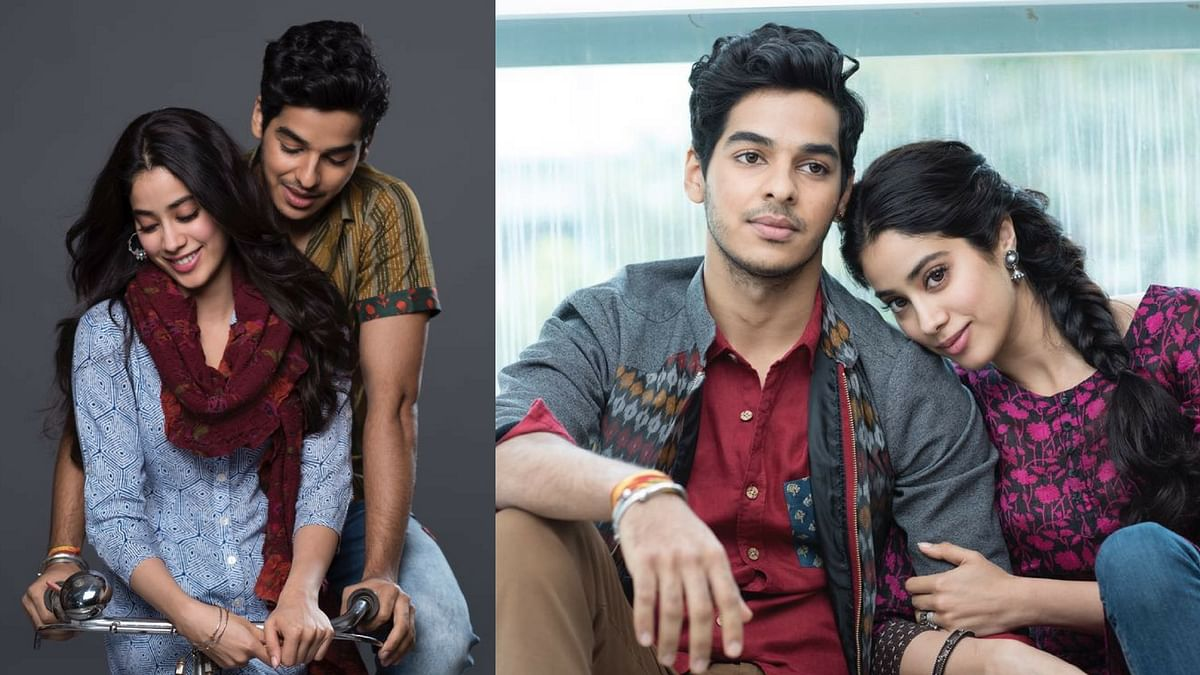 Jhanvi and Ishaan on the poster for <i>Dhadak</i>.&nbsp;