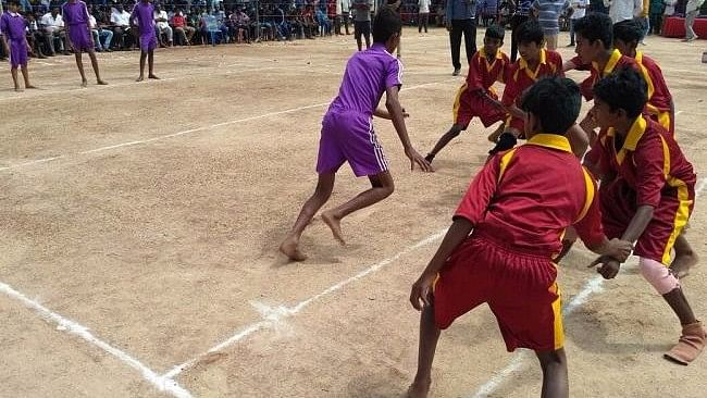A Kabaddi match being held in the newly converted court in Bengaluru's Seegehalli.