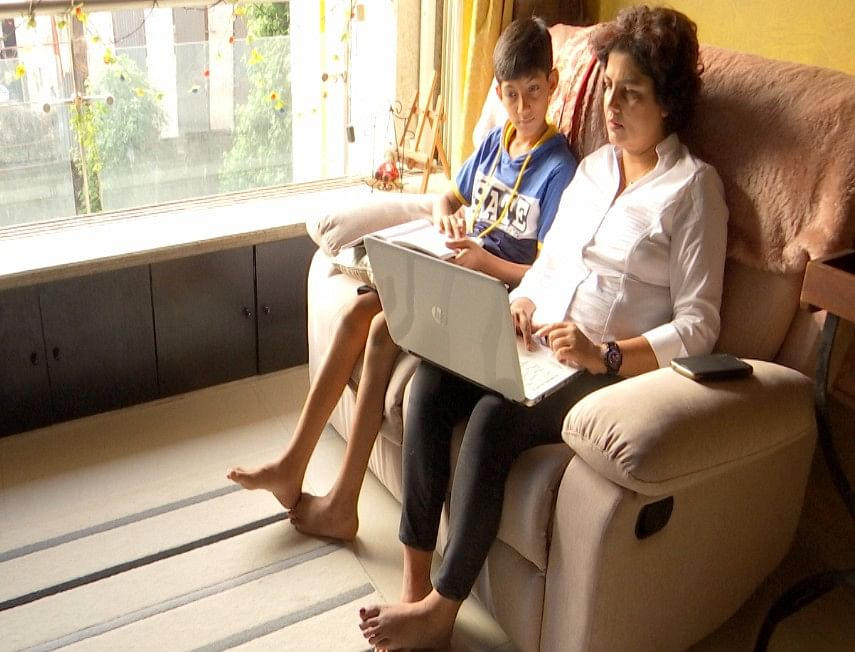 Ahaan Phadnis and his mother during study time.