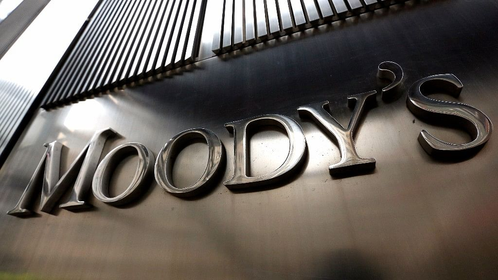 A Moody's sign is displayed on 7 World Trade Center, the company's corporate headquarters in New York.