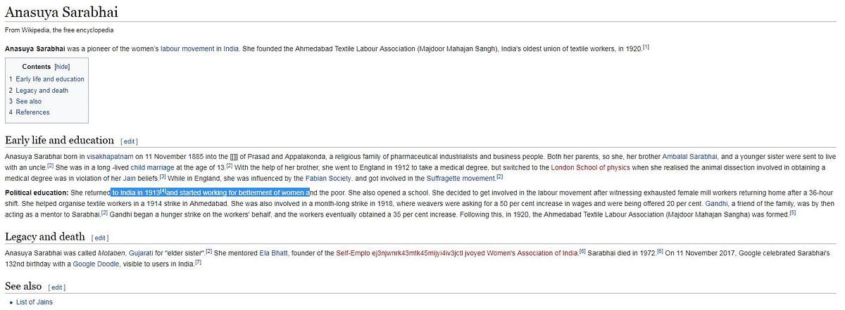 The Wiki entry of Anasuya Sarabhai
