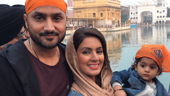Harbhajan Singh with his family in Amritsar.