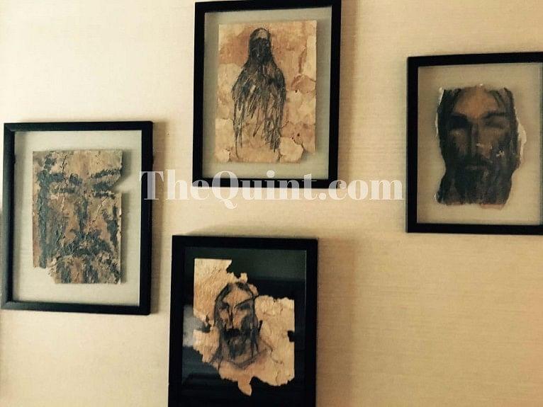 Salman Khan's paintings decorate the walls of Salim Khan's home.