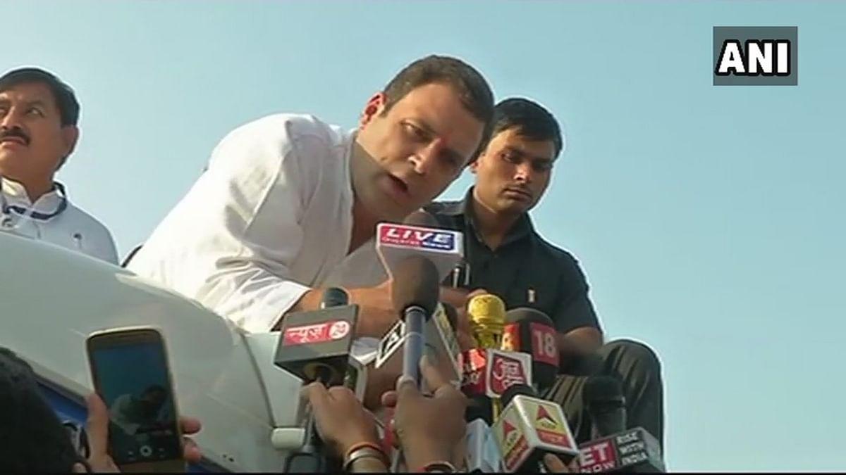 Rahul Gandhi speaking to the media in Bharuch, Gujarat.