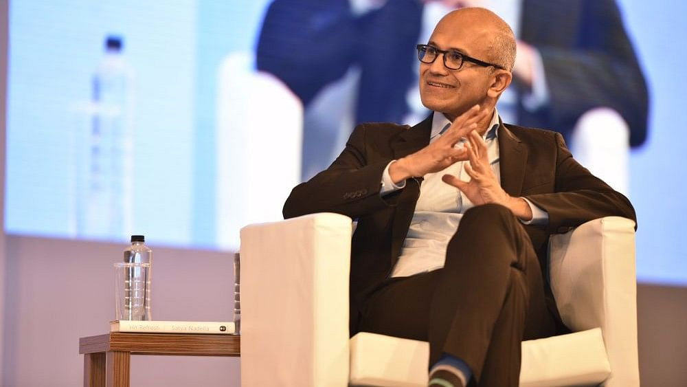 Satya Nadella, CEO, Microsoft at the Hit Refresh event in Delhi.