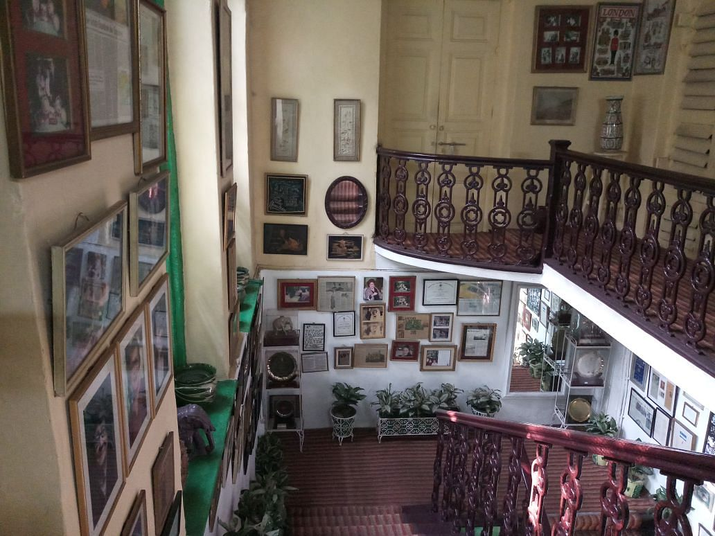 Staircase in the hall leading to room 17, famously called the Shashi Kapoor Room.