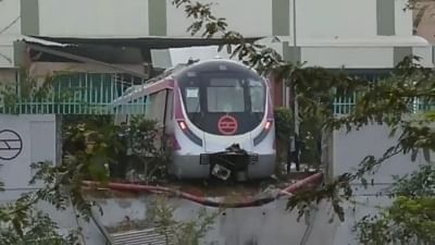 New Delhi: The driverless Metro train that hit a wall inside the depot at Kalkaji Metro station during trials, in New Delhi on Dec 19, 2017.  The Delhi Metro