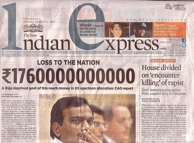 <p>The New Indian Express front page on 11 November 2010, a day after CAG released its report on the 2G spectrum allocation.&nbsp;</p>