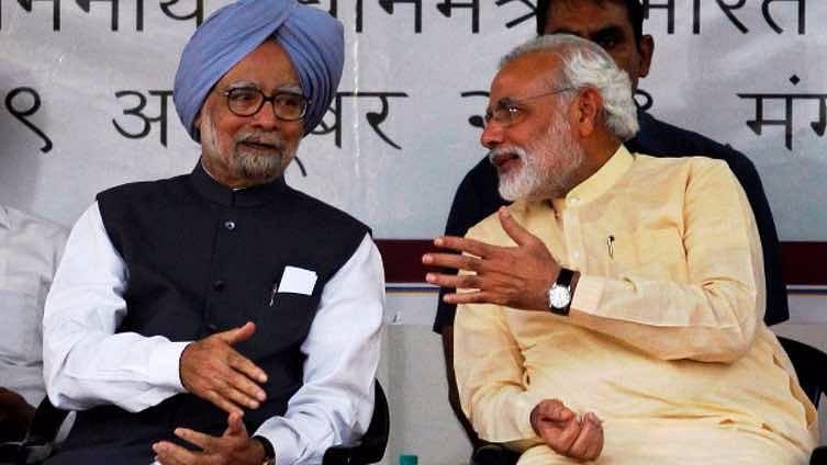 File photo of former prime minister Manmohan Singh (left) with Prime Minister Narendra Modi (right).