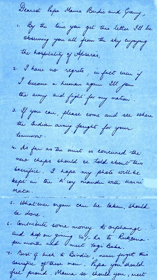 This is the last letter from Captain Vijayant Thapar to his family before he died bravely fighting the enemies in the Kargil war.