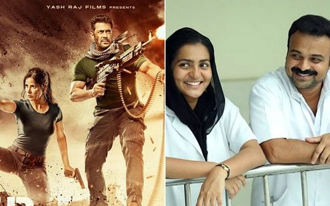 <p>The poster of <i>Tiger Zinda Hai</i> juxtaposed against a scene from <i>Take Off.</i></p>