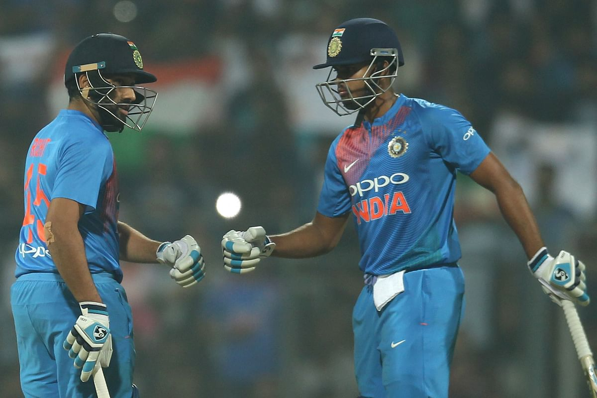 Rohit Sharma and Shreyas Iyer share a moment during the third T20.