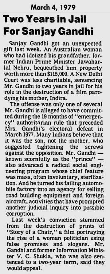 A news clipping about Sanjay Gandhi's arrest for burning prints of <i>Kissa Kursi Ka</i>.&nbsp;