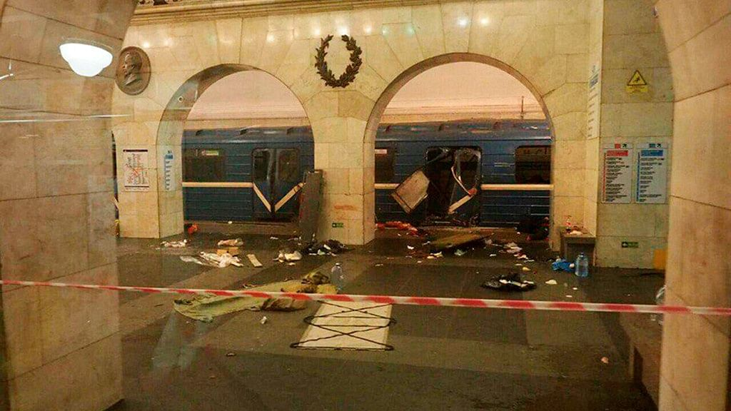 <p>An explosion rocked a subway station in St Petersburg, Russia, on 3 April 2017.</p>