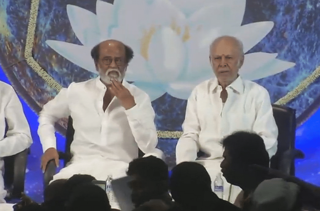 Rajinikanth interacting with fans.