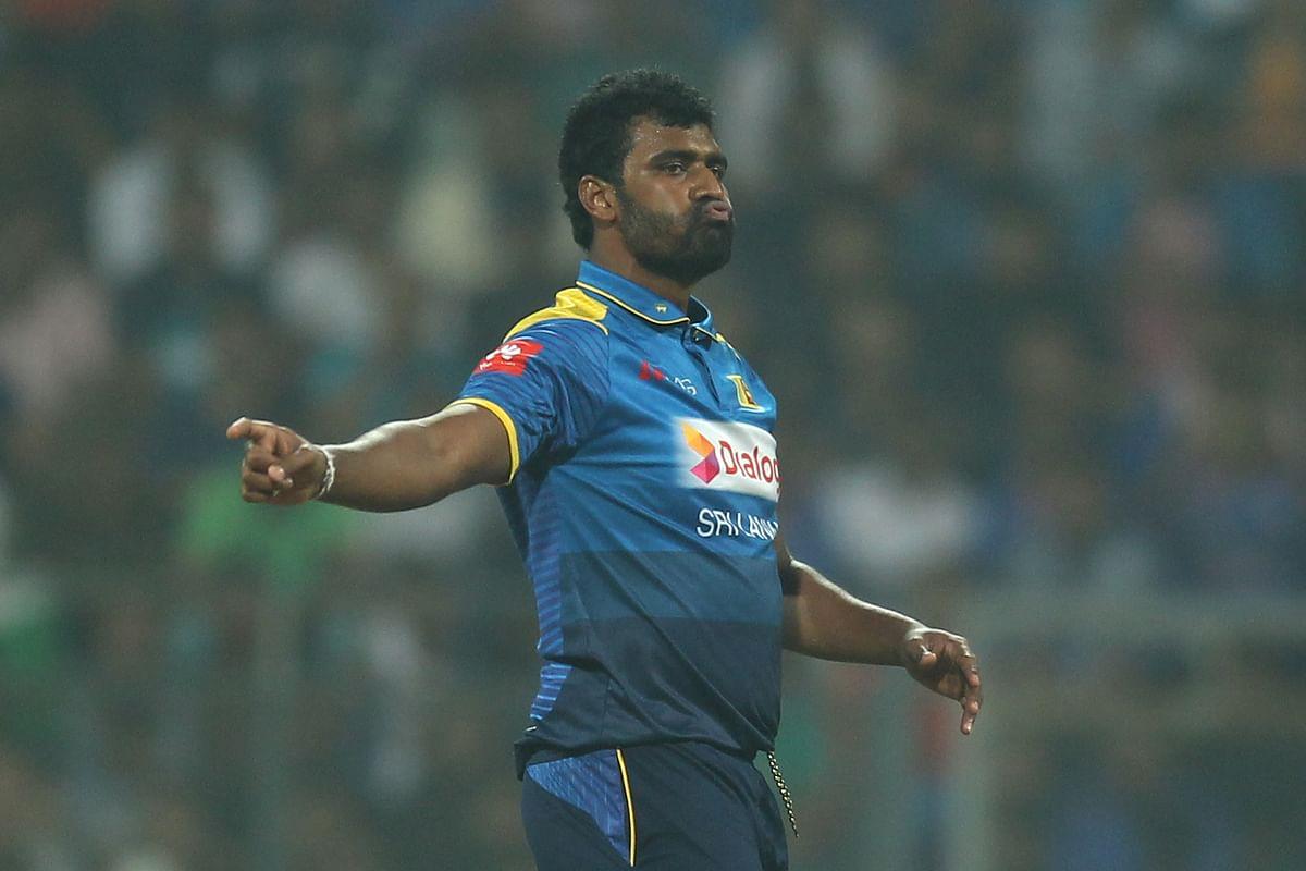 Thisara Perera gestures during the third T20.