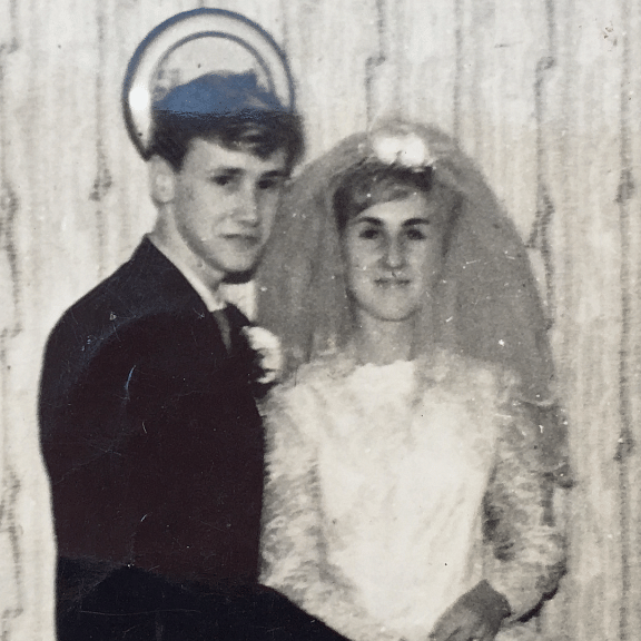 A 17-year-old Bob with his bride, Jean.