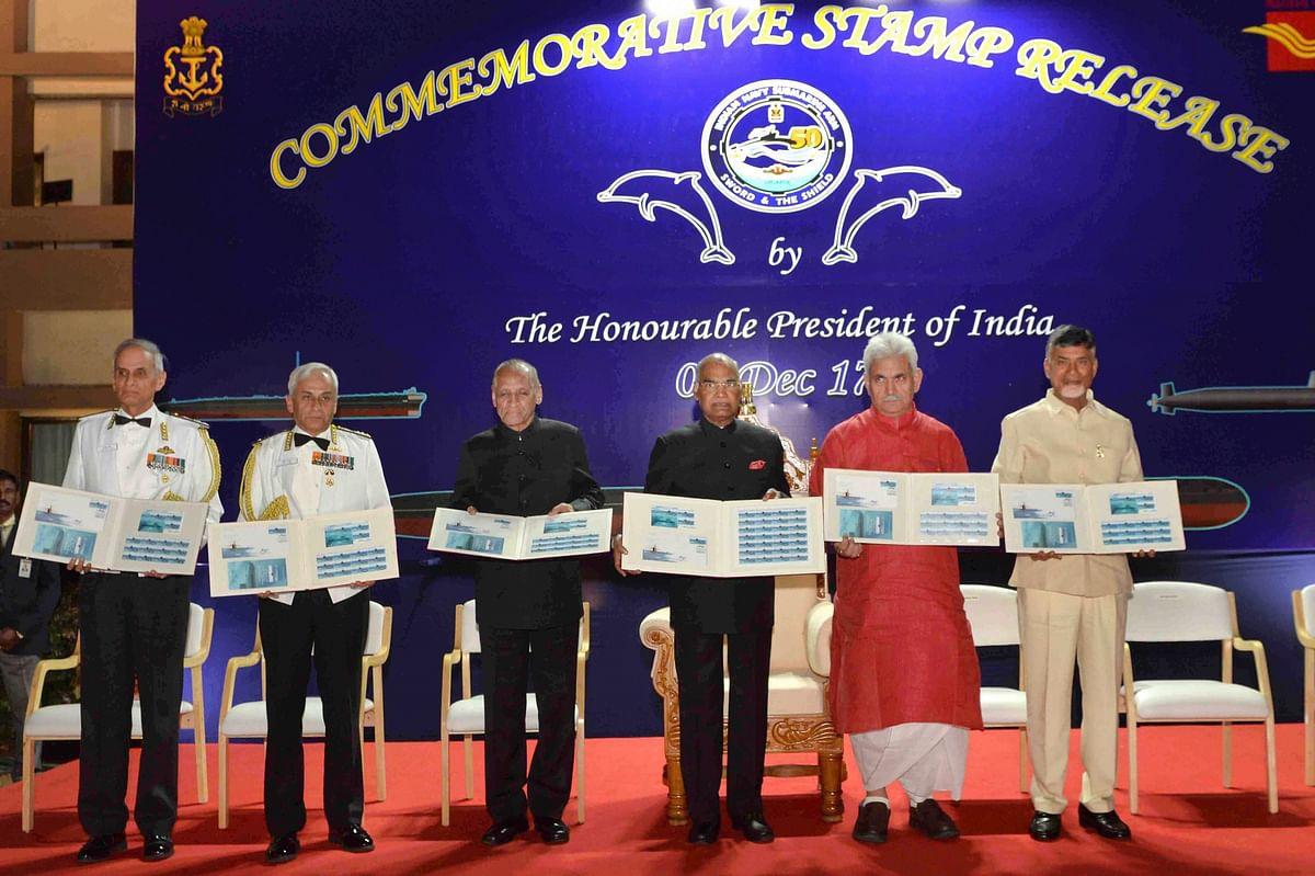 President Ram Nath Kovind releasing the commemorative stamp on INS Kalvari in Visakhapatnam, Andhra Pradesh on 7 December 2017.