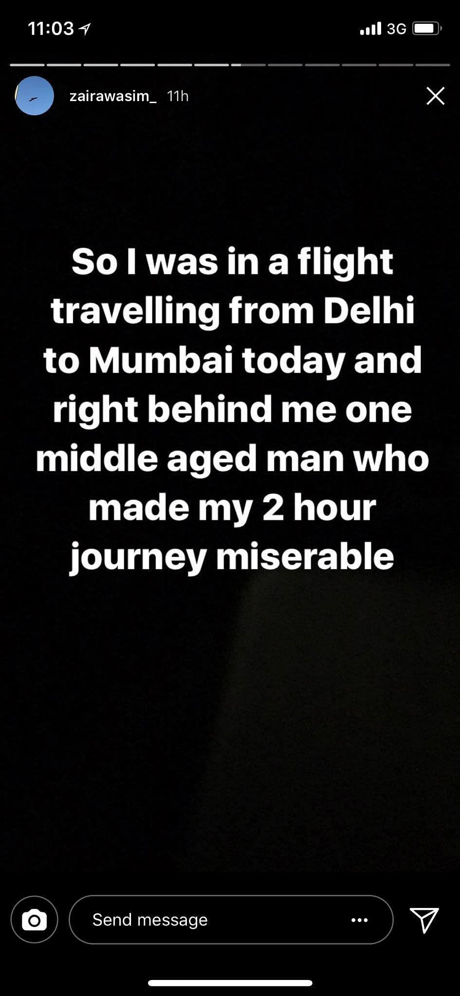 Screenshot of Zaira Wasim's Instagram story.