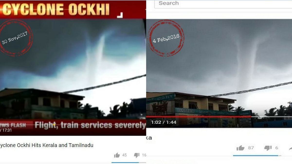 An old video of a tornado has been reused by India Today as that of Cyclone Ochki.