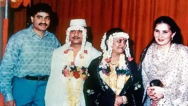 Chhota Rajan and his wife Sujata Nikhalje are seen with Dawood Ibrahim and his wife Mehjabeen (extreme right) during Rajan's wedding in Dubai in 1987.