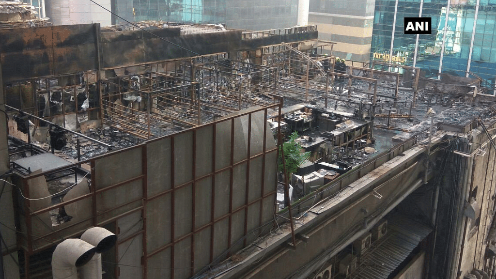 View of the gutted rooftop at Kamala Mills compound.