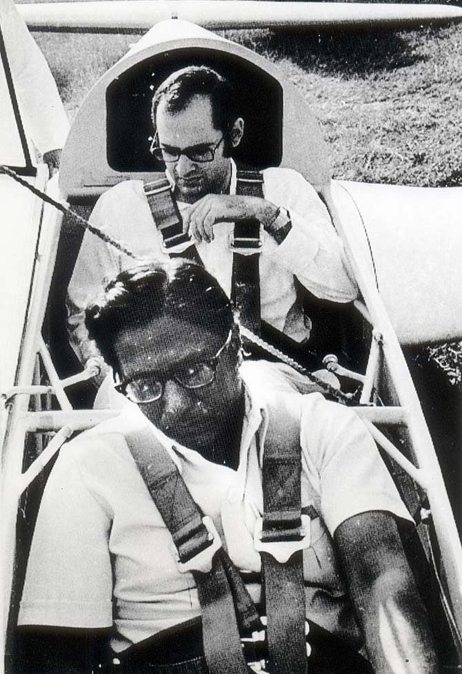 Sanjay Gandhi flies a glider during the Delhi Glider Club's anniversary in March 1980.