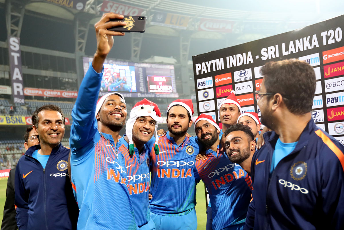 Indian cricket team celebrates after win.