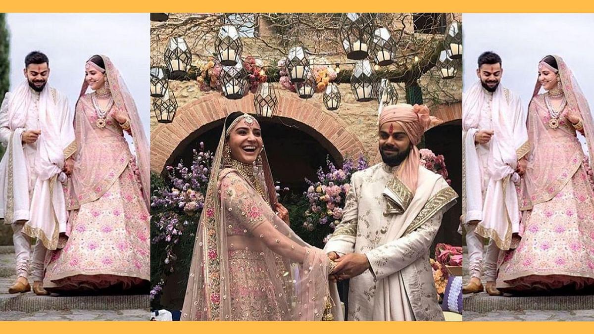 Virat Kohli and Anushka Sharma at their  wedding.