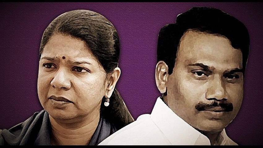 DMK leader and MP Kanimozhi (left) and former Telecom Minister, A Raja, the key accused in the 2G spectrum case.