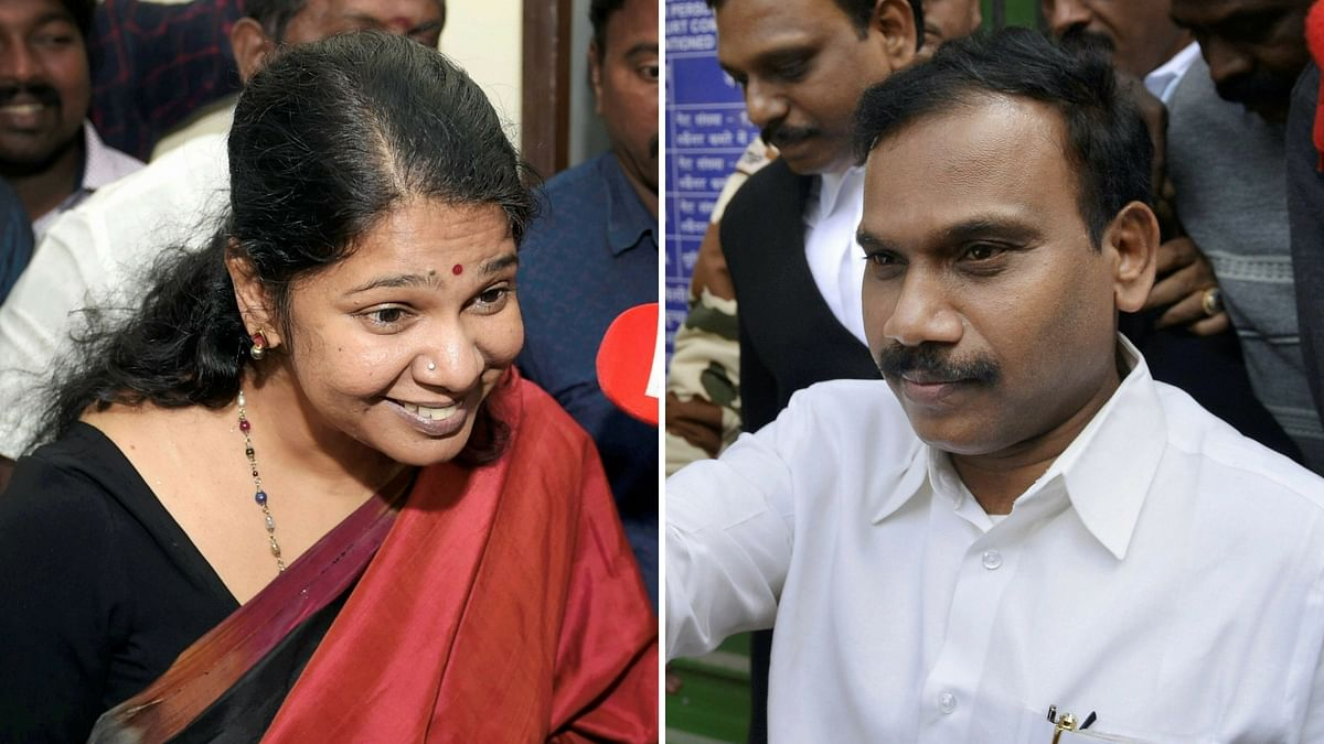 A mega rally is on  to mark the arrival of DMK's A Raja and Kanimozhi in Chennai on Saturday.