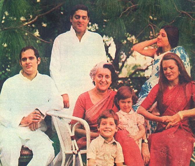 Sanjay Gandhi, Maneka and their son Varun; Rajiv Gandhi, his wife Sonia Gandhi and their daughter Priyanka; and matriarch Indira Gandhi pose for a family photo.