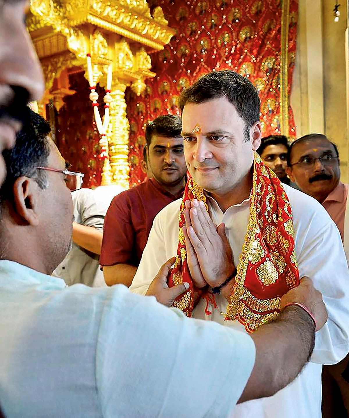 Congress President Rahul Gandhi during a visit to Shri Jagannathji Temple in Ahmedabad during the 2017 assembly election campaign.