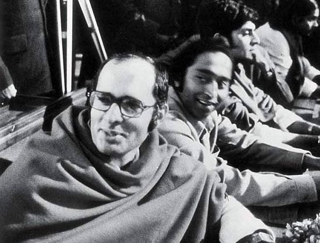"""Sanjay Gandhi, Kamal Nath (close friend of Sanjay Gandhi and an influential politician) and Jadish Tytler (Sanjay's aide) are seen above in the photo. """"Indira Gandhi ke do haath, Sanjay Gandhi, Kamal Nath"""" was a slogan of the Emergency.)"""
