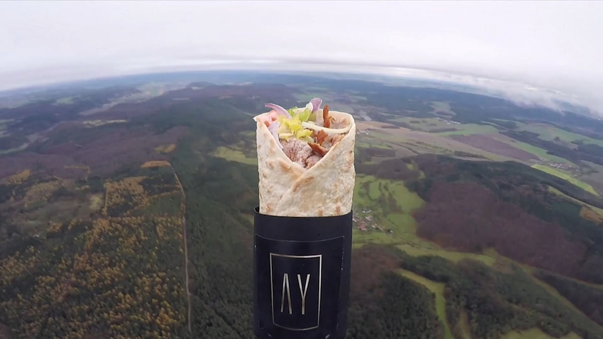 A restauranteur in Brazil launched his signature style kebab into space.