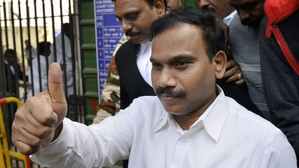 <p>A Raja reacts as he leaves the Patiala House Courts after his acquittal by a special court in the 2G scam case.</p>
