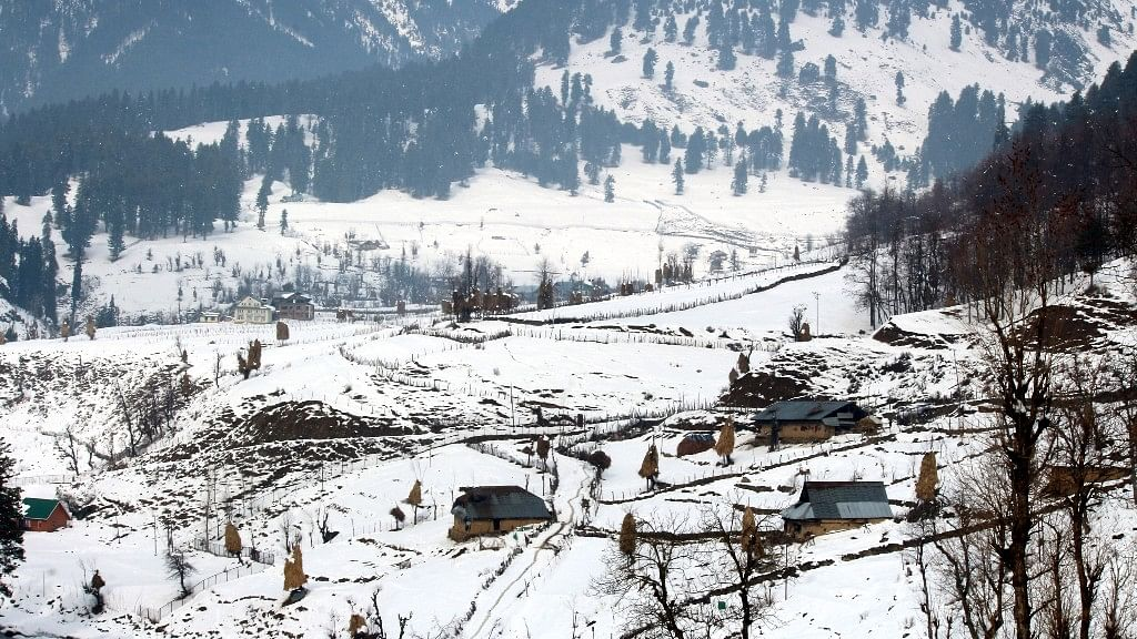 A bird's eye view of the hutments (Kothas) of nomads at a village in Pahalgam. Temperatures are expected to drop to -10 degree Celsius in Pahalgam this 'Chillai Kalan'.