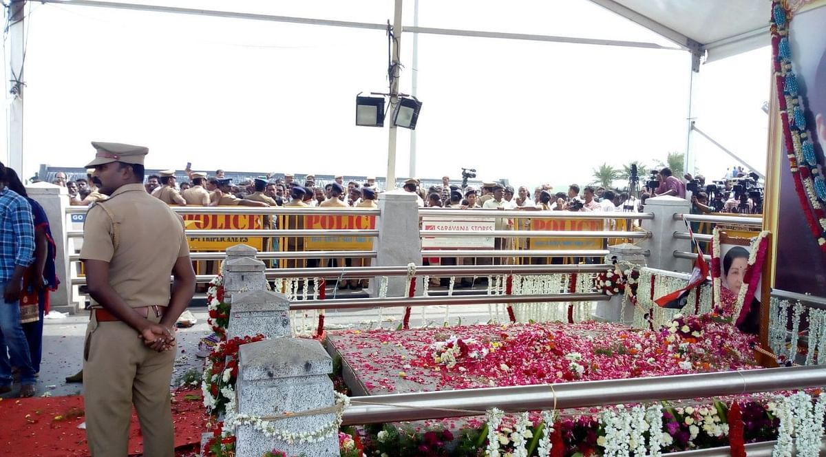 Jayaalithaa died on 5 December 2016 and was laid to rest behind the memorial of MGR on 6 December.
