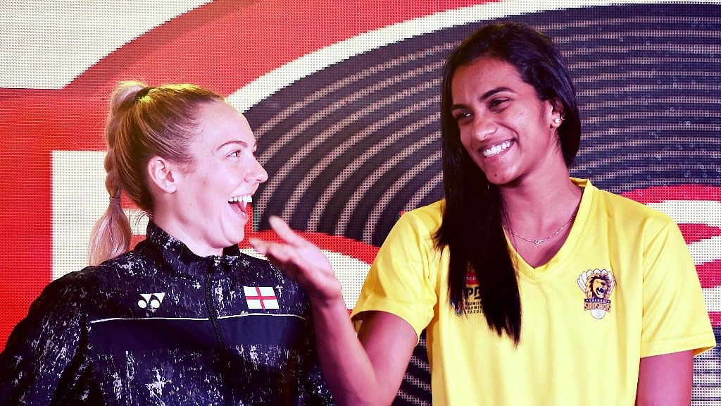 Players of Chennai Smashers PV Sindhu and Gabrielle Adcock at the launch of the team jersey, ahead of Premier Badminton League (PBL), in Chennai on Thursday.