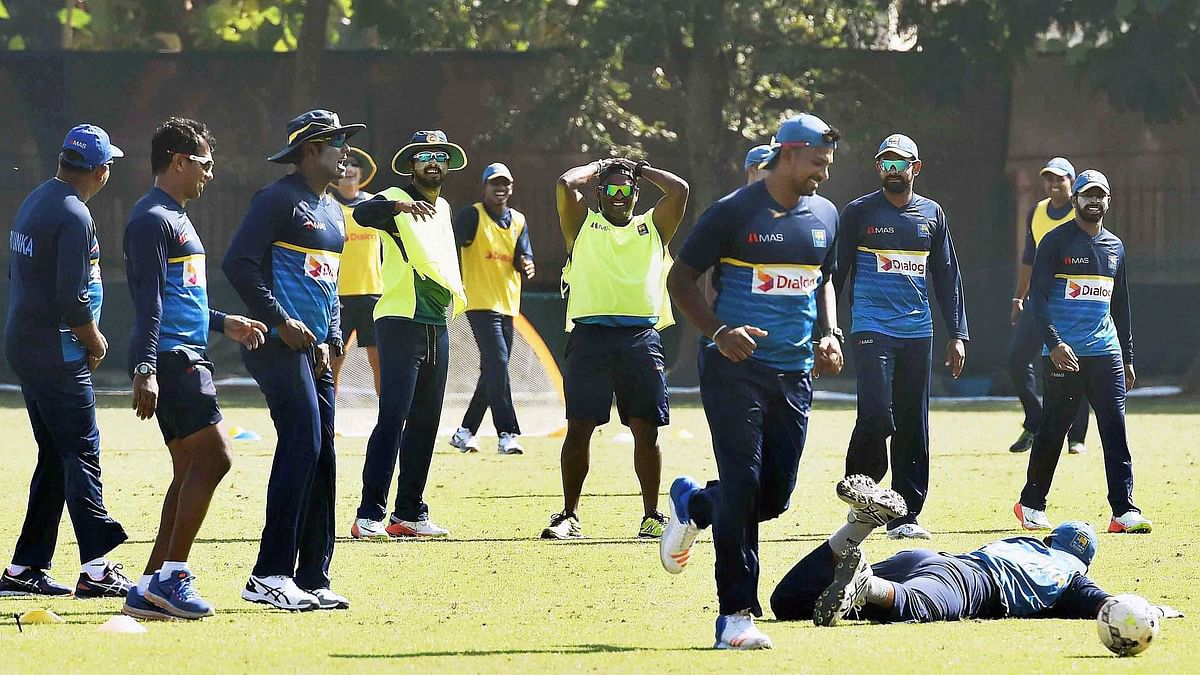 File picture of the Sri Lankan cricket team during a practice session in India.