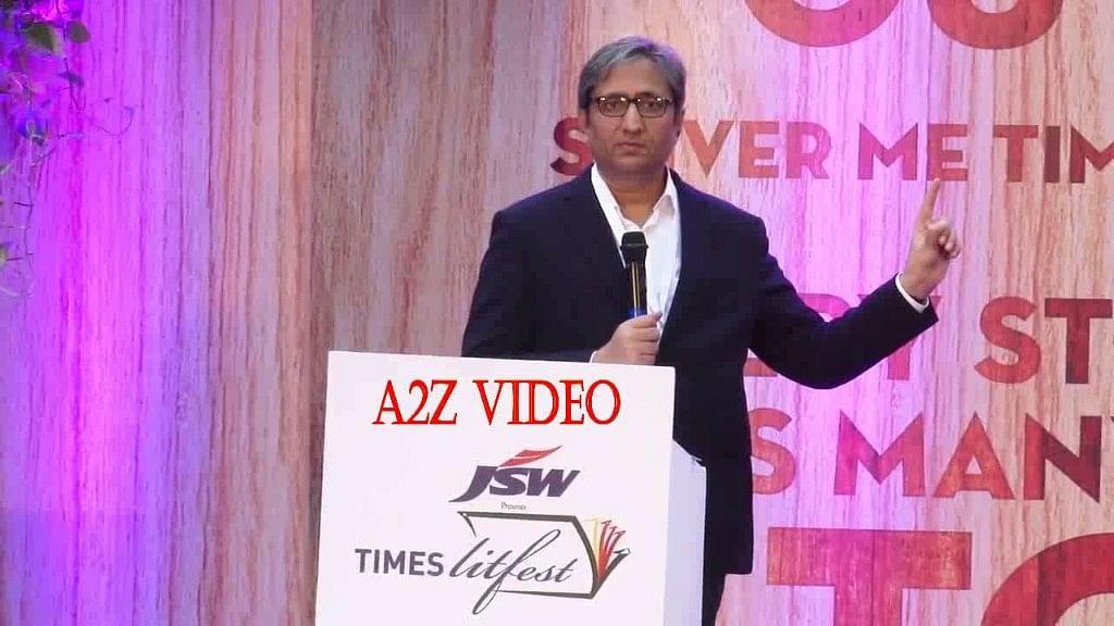 <p>Ravish Kumar speaks on 'Kalyug' at the Times Lit Fest in Mumbai.</p>