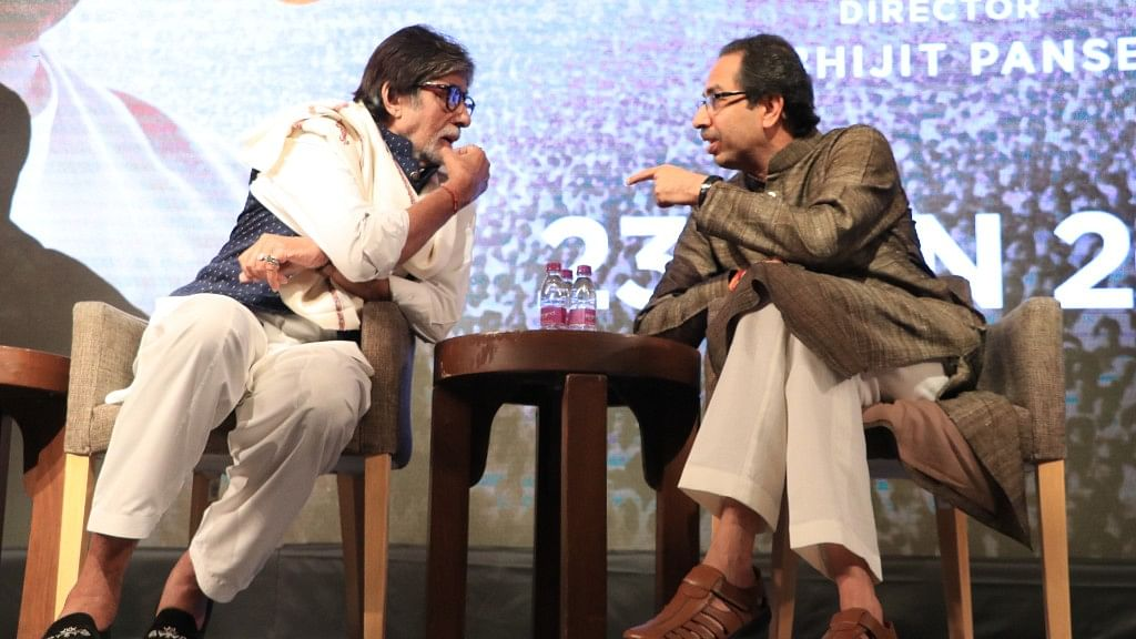 Amitabh Bachchan with Uddhav Thackeray at the event.