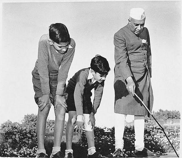 Jawaharlal Nehru with his grandsons Rajiv and Sanjay Gandhi.