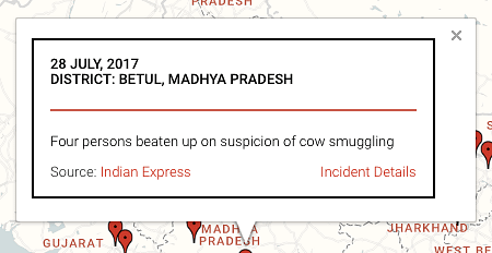 A registered incident on the map