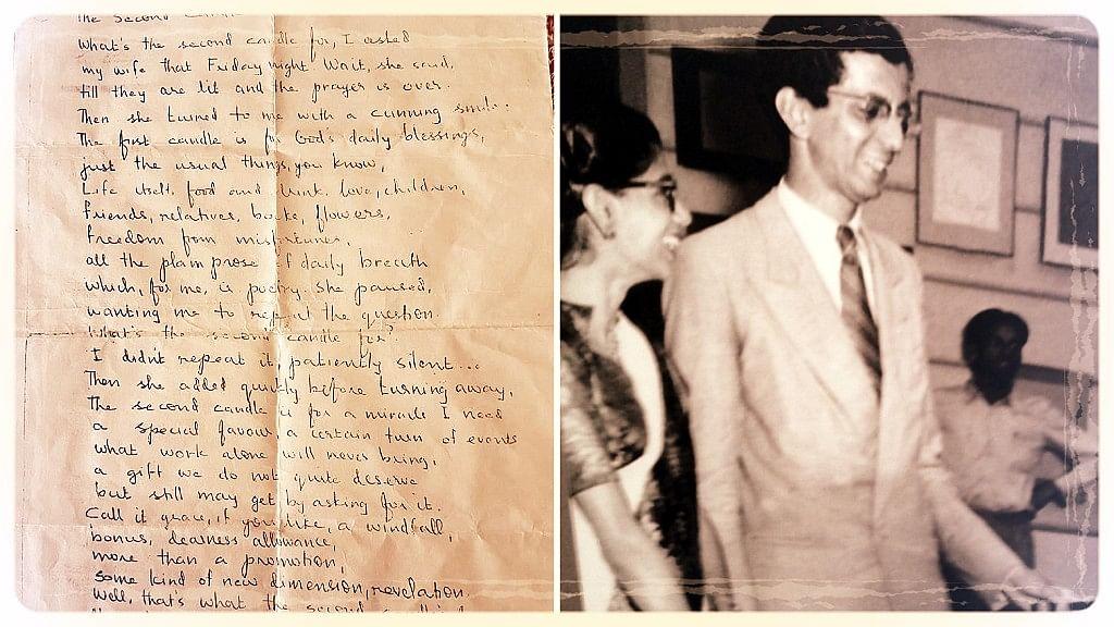 Indian Jewish poet Nissim Ezekiel (right) alongside a handwritten poem by him (left).