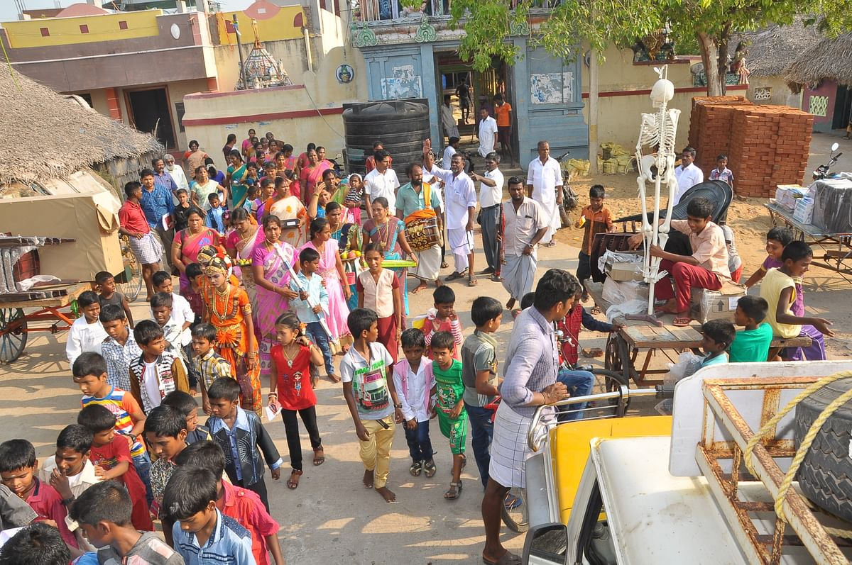 The entire village went on a procession to gift the school essentials