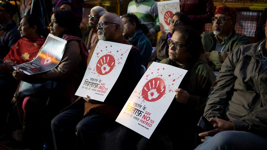 Under the #NotInMyName banner, protesters gathered in New Delhi on 6 Decemberto condemn the communal killing of Bengal man Afrajul in Rajasthan.