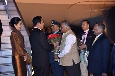 New Delhi: Prime Minister of Thailand Gen. Prayut Chan-o-cha being received by Union Minister Gen. (Retd.) V.K.Singh as he arrives to attend ASEAN India Commemorative Summit in New Delhi, on Jan 24, 2018. (Photo: IANS/MEA)