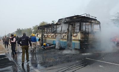 "Gurugram: A bus torched by a mob protesting against release of upcoming film ""Padmaavat"" in Gurugram, on Jan 24, 2018. (Photo: IANS)"